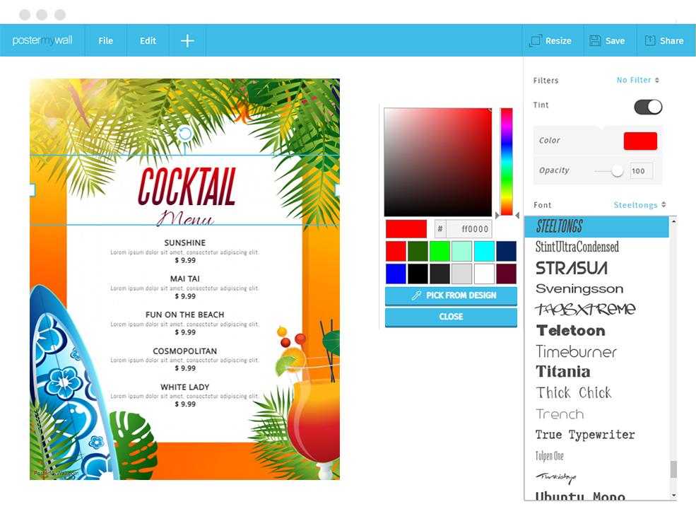 postermywall menu maker